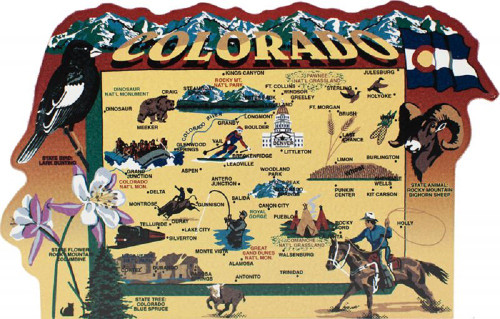 United States Map, Colorado Centennial State