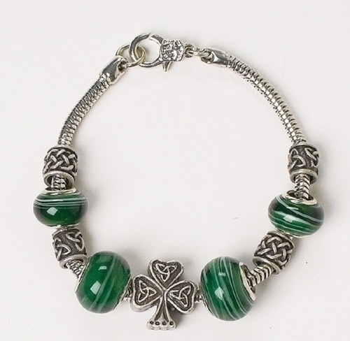 "Irish Celtic Shamrock Bracelet 7.5"" L - #66730"