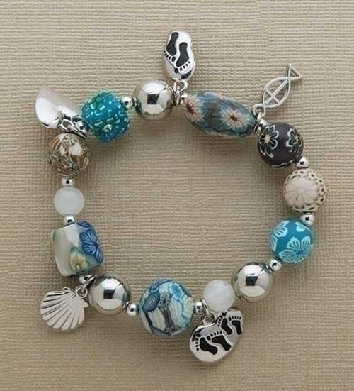 Clay Charm Bracelet Footprints in the Sand