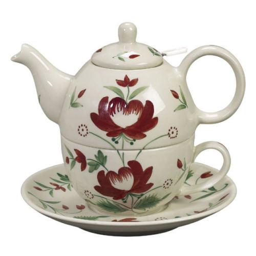 Andrea Sadek Ceramic *Tea for One* Teapot Cup Saucer Adams Rose #W419 NIB