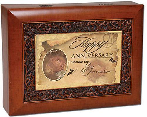 Anniversary Cottage Garden Ornate Woodgrain Music Jewelry Box Wonderful World NW