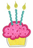 No 123 Applique Cupcake and Candle Machine Embroidery Designs