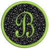 """3.8"""" circle with our #335 Classic Script Monogram [small B]"""