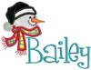 """Picture 3"""" Applique Snowman with our #48 Fun Font to spell """"Bailey"""" - Font is not included in this set."""