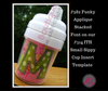 """Our uppercase applique """"M"""" on our #514 Sippy Cup Template - makes an adorable sippy cup!"""