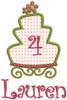 #4 Lauren - SM cake w/SM flower add-ons & #147 CurlyQue Font