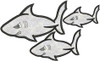 Picture of all 3 Applique Sharks included in this set