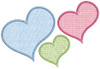 Picture of all 3 Applique Hearts included in set