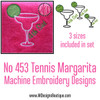 No 453 Tennis Margarita Machine Embroidery Designs