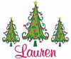 """The picture below is of 2 small trees, 1 medium tree and we used our #57 Girly Font to spell """"Lauren"""""""