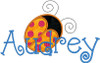 """6"""" applique ladybug with dots with our #353 Doodle Font to spell Audrey"""