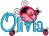 """2"""" applique ladybug without dots with our #127 Sharpy Font to spell Olivia, PLUS 3 small standard filled ladybugs from our #462 Ladybug set."""