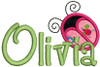 """2"""" applique ladybug without dots with our #127 Sharpy Font to spell Olivia"""