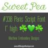 No 338 Paris Script Font Machine Embroidery Designs 1 inch high
