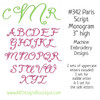 No 342 Paris Script Monogram Machine Embroidery Designs 3 inch high