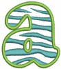 No 358 Lowercase Zebra Filled Font Machine Embroidery Designs 2.5 inch high