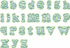 No 359 Lowercase Zebra Filled Font Machine Embroidery Designs .7 inch high