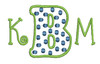 """Below are examples of how you can use this font in addition to just using as a single initial monogram.  Font sets that are shown are listed below each example. B is from this set [#372] and the K and M are from our #381 Doodle Font 1"""" set."""