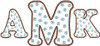 """A and K are from our #374 Polka Dot Font 4"""" set and the M is from our #376 Polka Dot Font 6""""set.  Finished height and width are 6"""" x 13"""""""