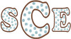 """S and E are from our #374 Polka Dot Font 4"""" set and the C is from our #376 Polka Dot Font 6""""set.  Finished height and width are 6"""" x 10.7"""""""