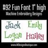 No 92 Fun Font Machine Embroidery Designs 1 inch high