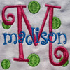 "The Madison example was designed using our #149 CurlyQue Font for the ""M"" and the #147 CurlyQue Font for ""madison"""