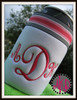 Our #351 Classic Script 3 Letter Monogram Machine Embroidery Designs 2 inch high stitched along with our #510 Can Koozie Template to make an adorable koozie!!