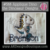 Picture of Applique Dino the Dinosaur stitched on a diaper to make a burp cloth. I used a fuzzy white fabric to make him a little more realistic and I used our #381 Doodle Font to spell Brenton [Font is not included in this set].