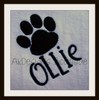 """Stitched on a white towel with our #381 Doodle Font to spell """"Ollie""""."""