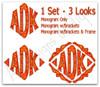 1 Set - 3 Looks ~ Monogram Only ~ Monogram w/Brackets ~ Monogram w/Brackets & Frame