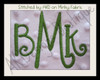 Example stitched is our No 1344 Swirly 3 Letter Monogram Machine Embroidery Designs 3 inch and 1.7 inch high