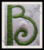 "Close-up of 1.7"" Side Letter ""B"" stitched out from our No 1344 Swirly 3 Letter Monogram Machine Embroidery Designs 3 inch and 1.7 inch high"