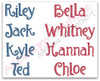 Examples of how the names look once the letters are combined.