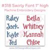 No 318 Swirly Font Machine Embroidery Designs 1 inch high