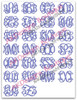 No 1361 Entwined or Vine 3 Letter Monogram Machine Embroidery Designs 1 inch high
