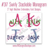 No 317 Swirly Stackable Monogram Font Machine Embroidery Designs 3 inch high