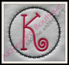 """Criss Cross Frame with our #353 Doodle Font """"K"""" {sold separately} {easily stitch without fabric for a cute frame like the pictures shown}"""