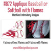 No 872 Applique Baseball or Softball with Flames Machine Embroidery Designs