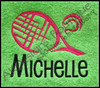 Example of #1383 Reese Font & Monogram 1 1/2 inch high stitched on a Lime Green Towel [one of our Blank Sports Towels] with our large #461 Racquet and Ball Tennis Design