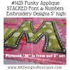 """Close-up example of stitched uppercase applique """"M"""" from our 2"""" set & our Sippy Cup Template"""