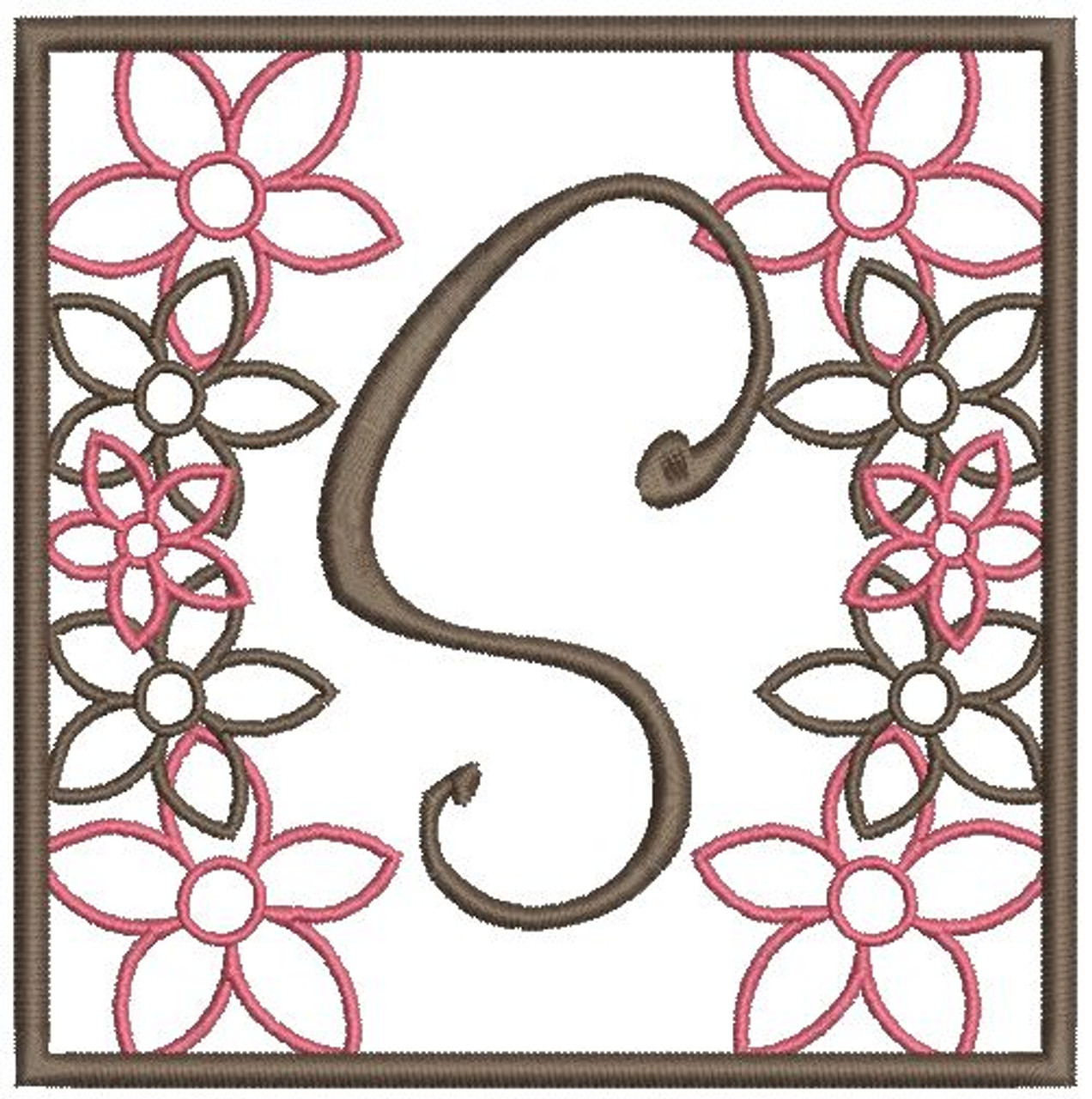 No 23 Flower Font Frames Machine Embroidery Designs