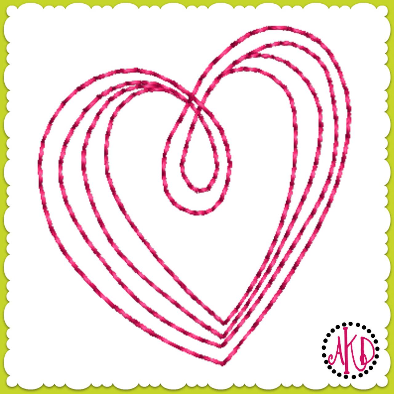 No 581 Teeny Hand Drawn Triple Stitch Hearts Machine Embroidery