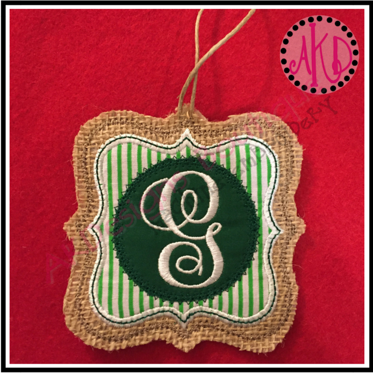 In The Hoop Christmas Ornament Fancy Double Frame Machine Embroidery Design No 1703