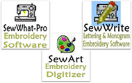 SewWhat-Pro, SewArt, and SewWrite Embroidery Software Comparison