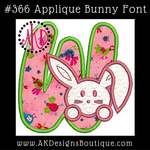 No 366 Applique Bunny Bunnies Machine Embroidery Font Designs 4 inch high