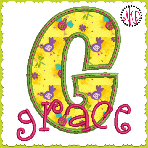No 379 Funky Applique STACKED Font and Numbers Machine Embroidery Designs 3 inch high