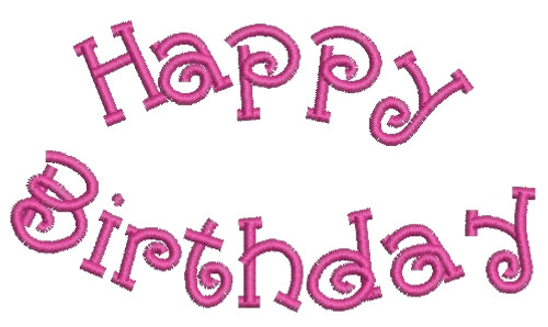 No 768 Curved Happy Birthday Machine Embroidery Designs