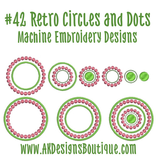 No 42 Retro Circles and Dots Machine Embroidery Designs