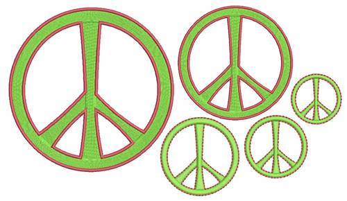 No 469 Peace Sign Machine Embroidery Designs