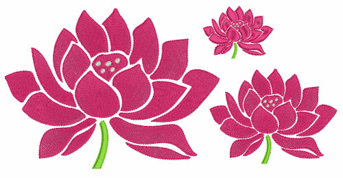 No 524 Lotus Flower in Full Bloom Machine Embroidery Designs